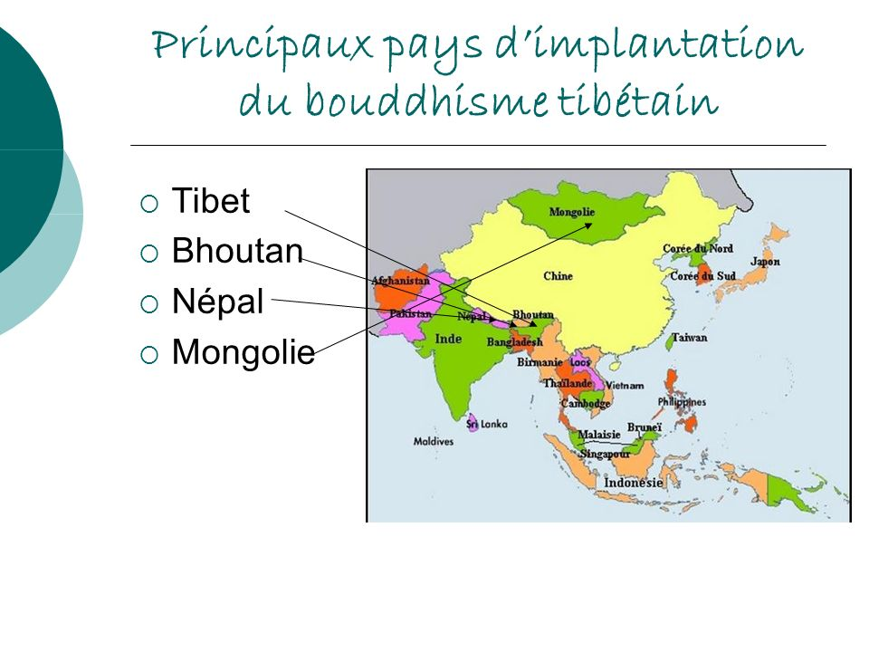 Principaux pays d'implantation du bouddhisme tibétain