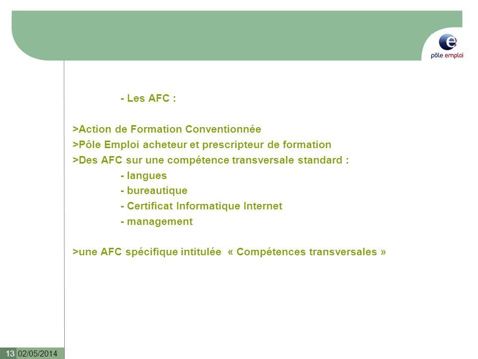 - Les AFC : >Action de Formation Conventionnée