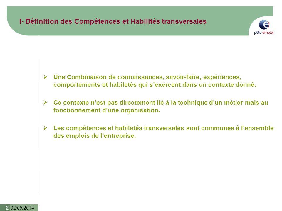 I- Définition des Compétences et Habilités transversales