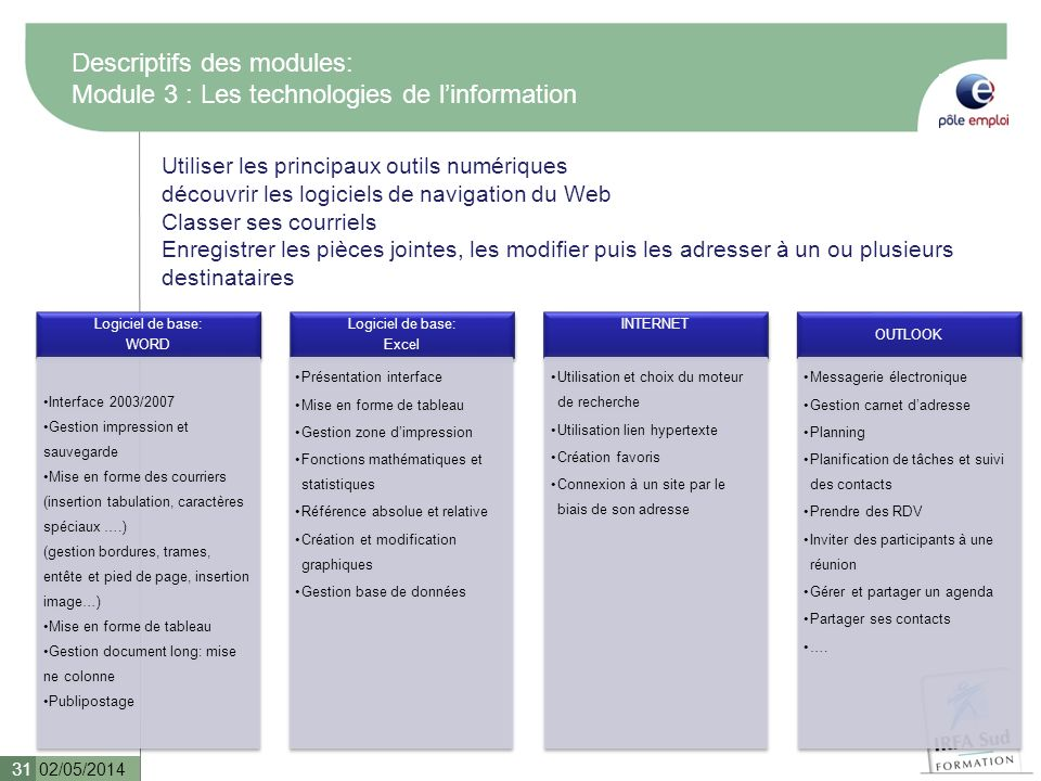 Descriptifs des modules: Module 3 : Les technologies de l'information
