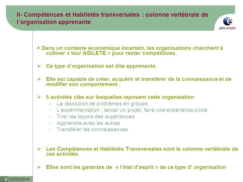 II- Compétences et Habiletés transversales : colonne vertébrale de l'organisation apprenante