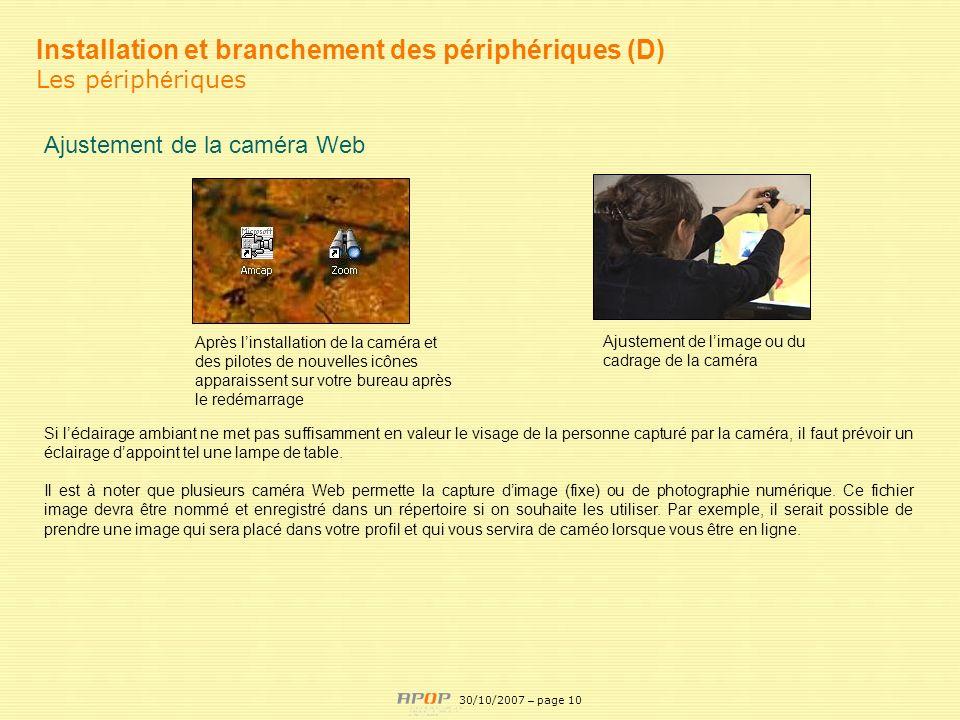 Installation et branchement des périphériques (D)