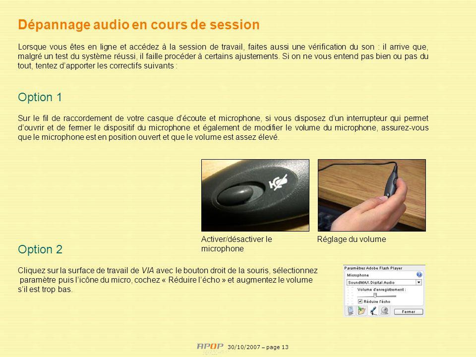 Dépannage audio en cours de session