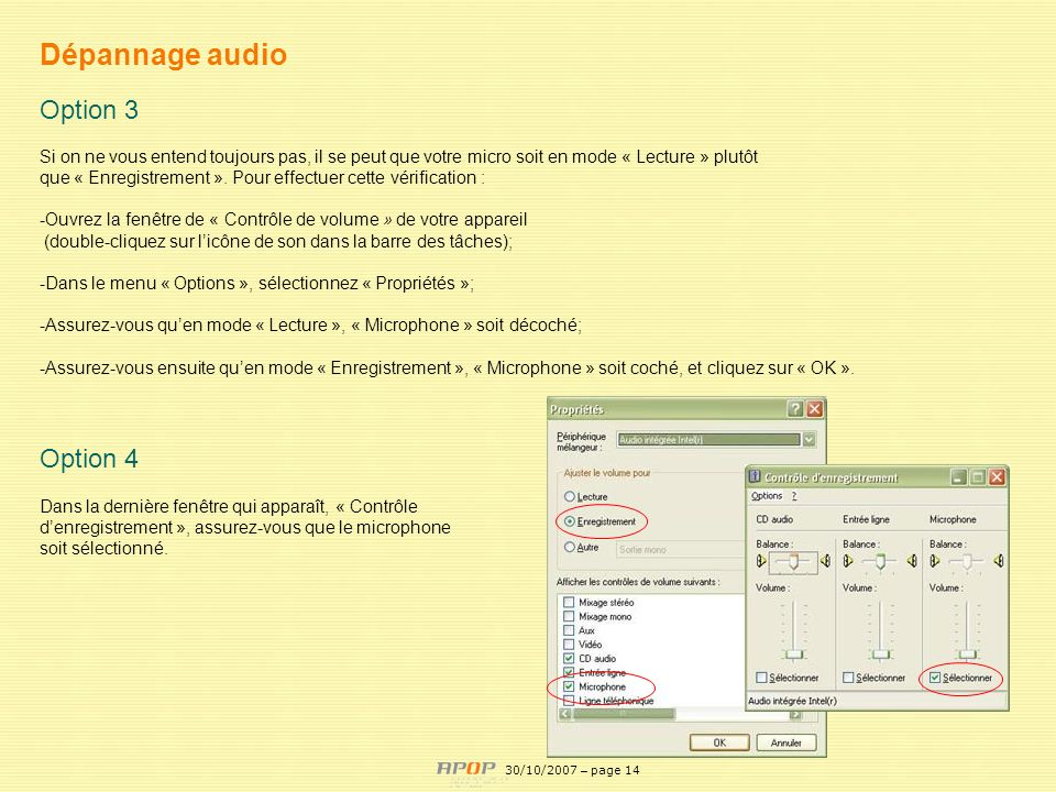 Dépannage audio Option 3 Option 4 APOP