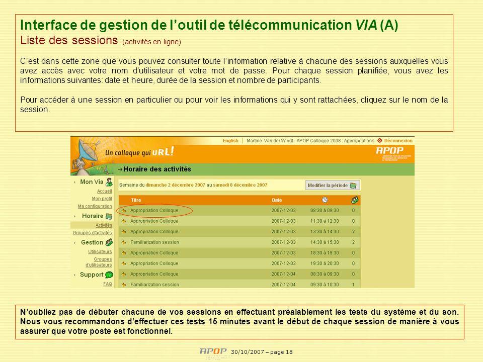 Interface de gestion de l'outil de télécommunication VIA (A)