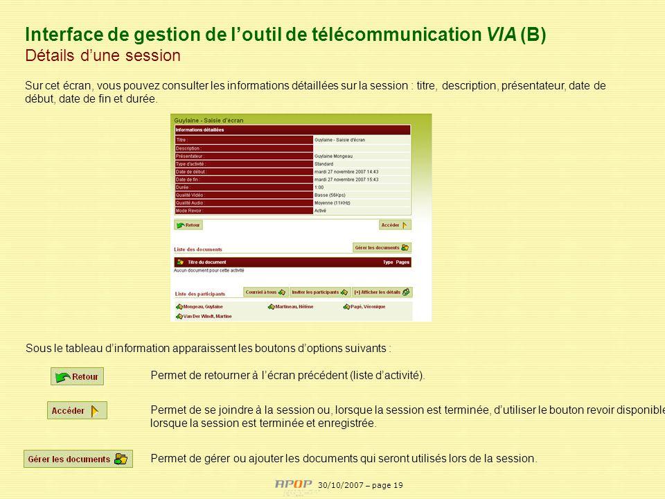 Interface de gestion de l'outil de télécommunication VIA (B)