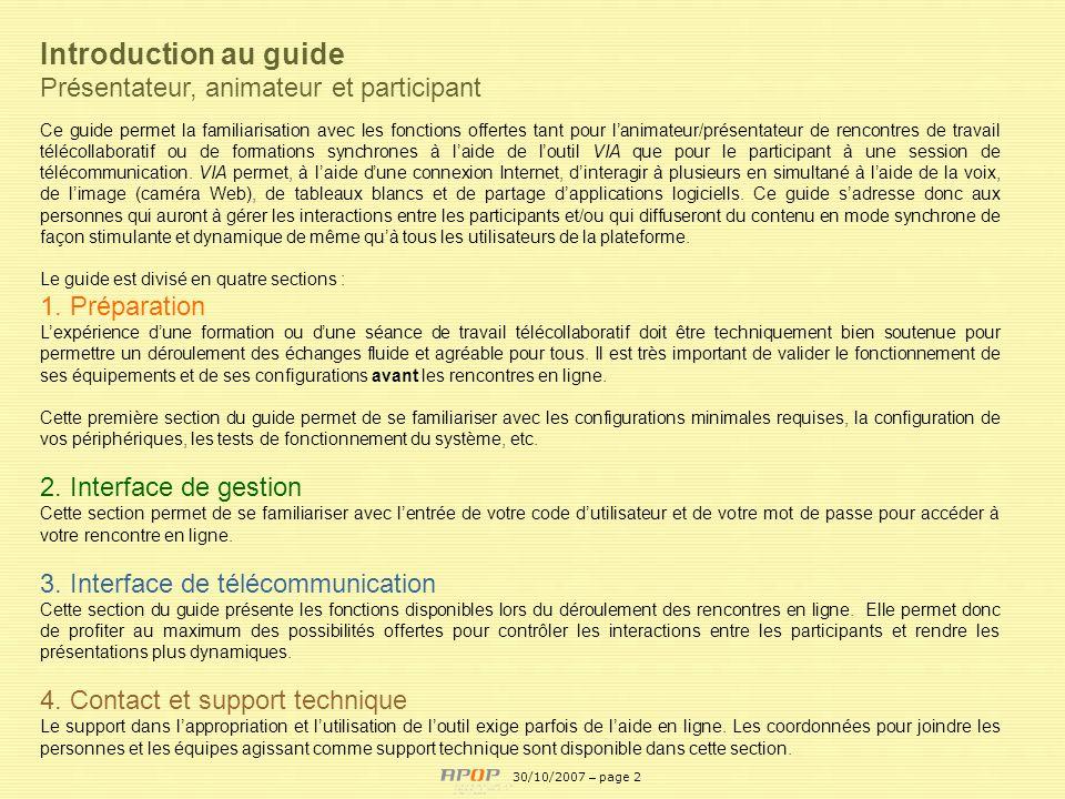 Introduction au guide Présentateur, animateur et participant