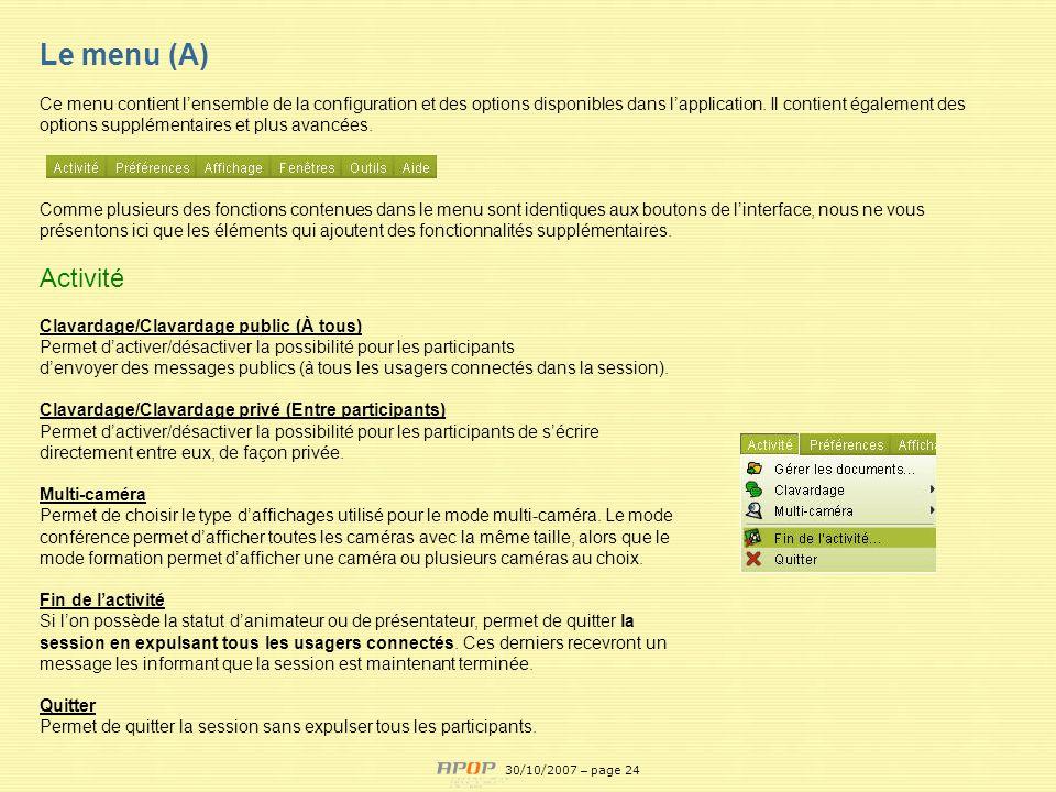 Le menu (A) Activité APOP