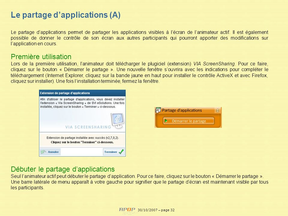 Le partage d'applications (A)