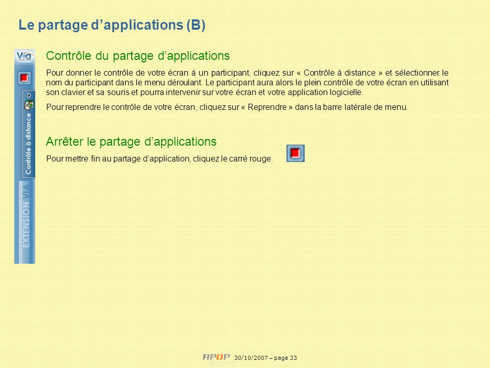 Le partage d'applications (B)