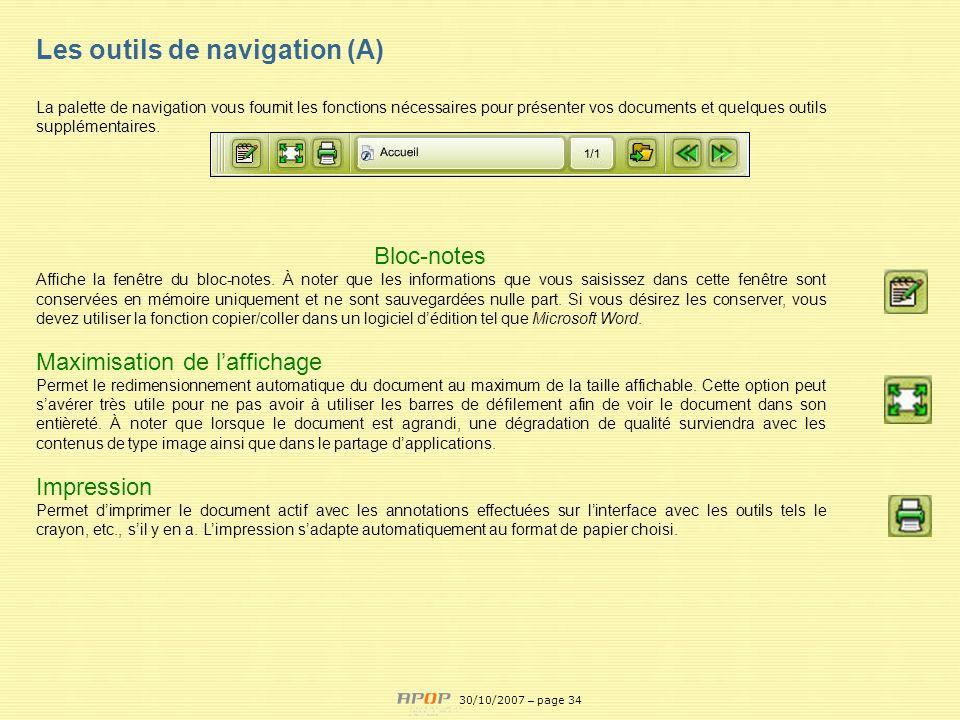 Les outils de navigation (A)