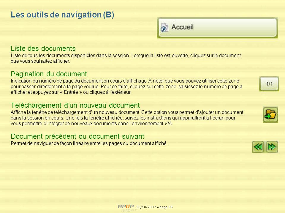 Les outils de navigation (B) Liste des documents