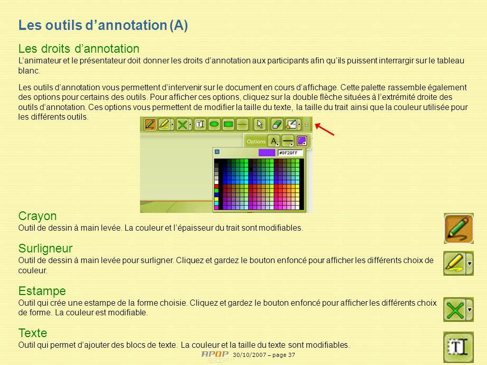 Les outils d'annotation (A)