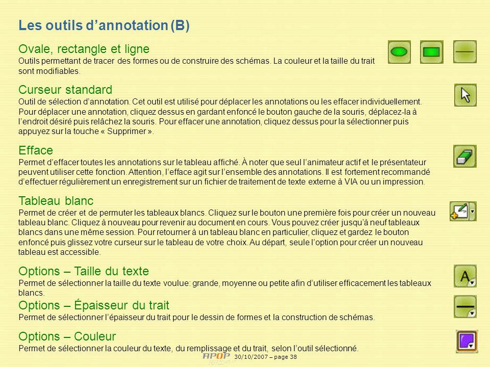 Les outils d'annotation (B)