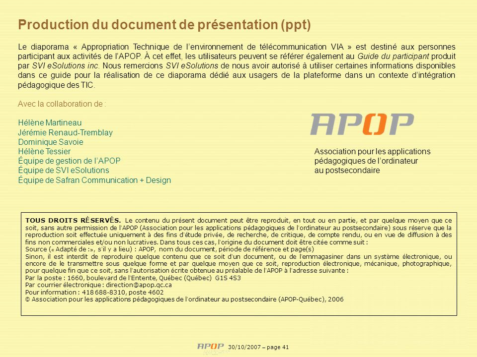 Production du document de présentation (ppt)