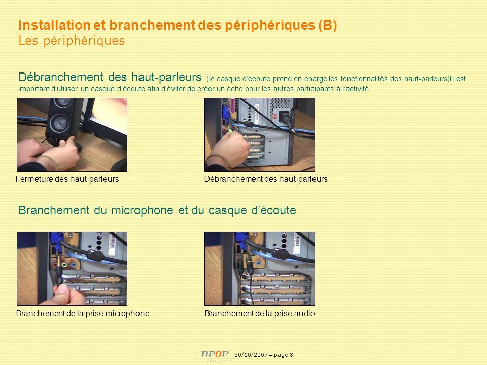 Installation et branchement des périphériques (B)