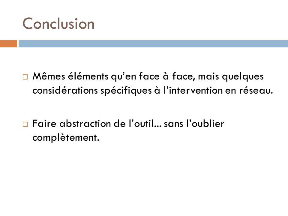 Conclusion Mêmes éléments qu'en face à face, mais quelques considérations spécifiques à l'intervention en réseau.