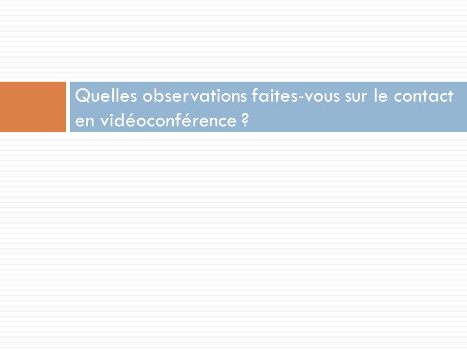 Quelles observations faites-vous sur le contact en vidéoconférence