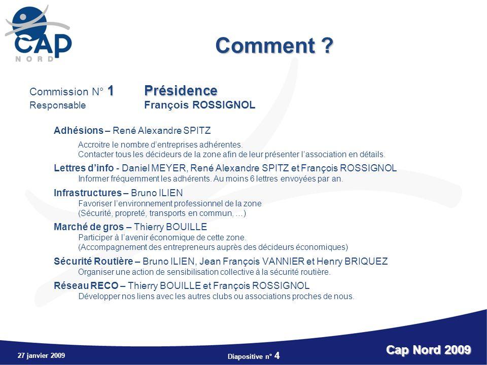 Comment Cap Nord 2009 Commission N° 1 Présidence