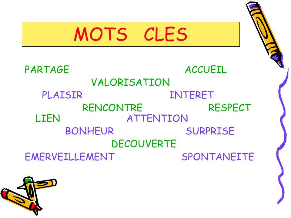 MOTS CLES PARTAGE ACCUEIL VALORISATION PLAISIR INTERET