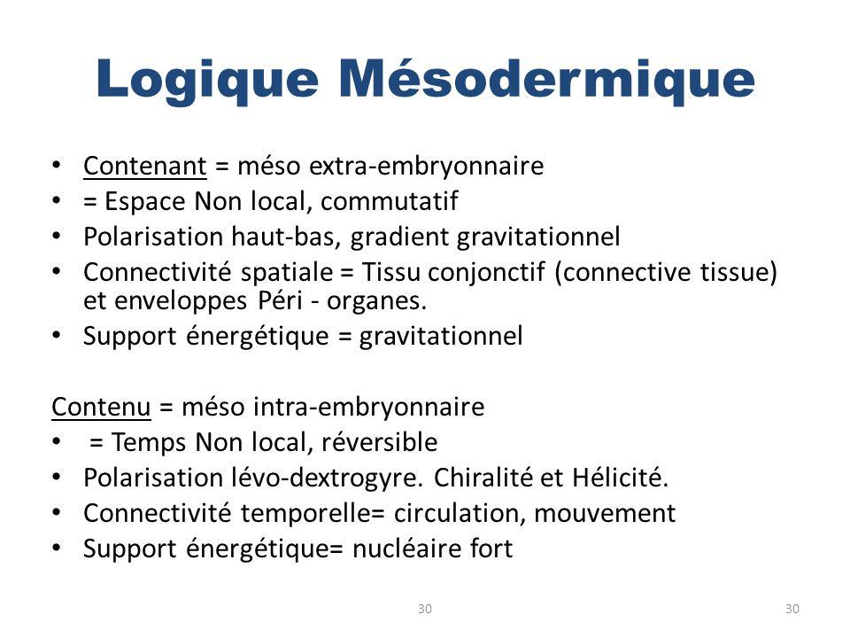 Logique Mésodermique Contenant = méso extra-embryonnaire