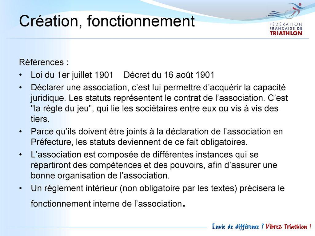 Mon club de triathlon son fonctionnement son - Declaration bureau association prefecture ...