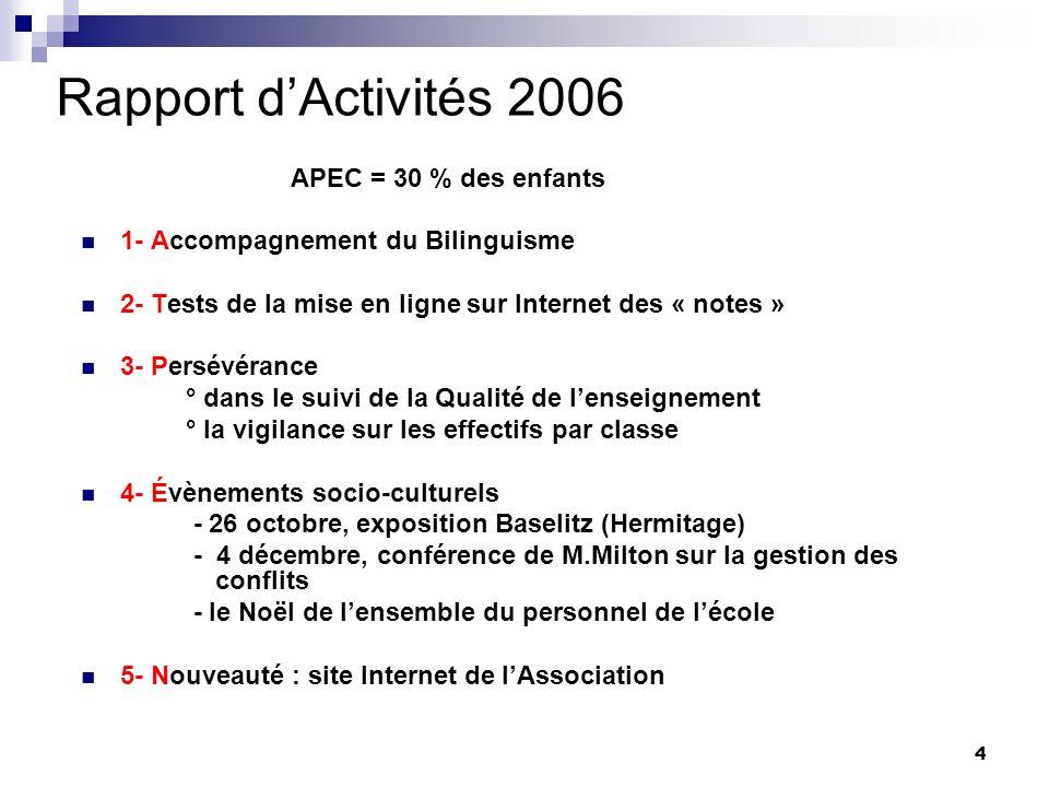 Rapport d'Activités 2006 1- Accompagnement du Bilinguisme