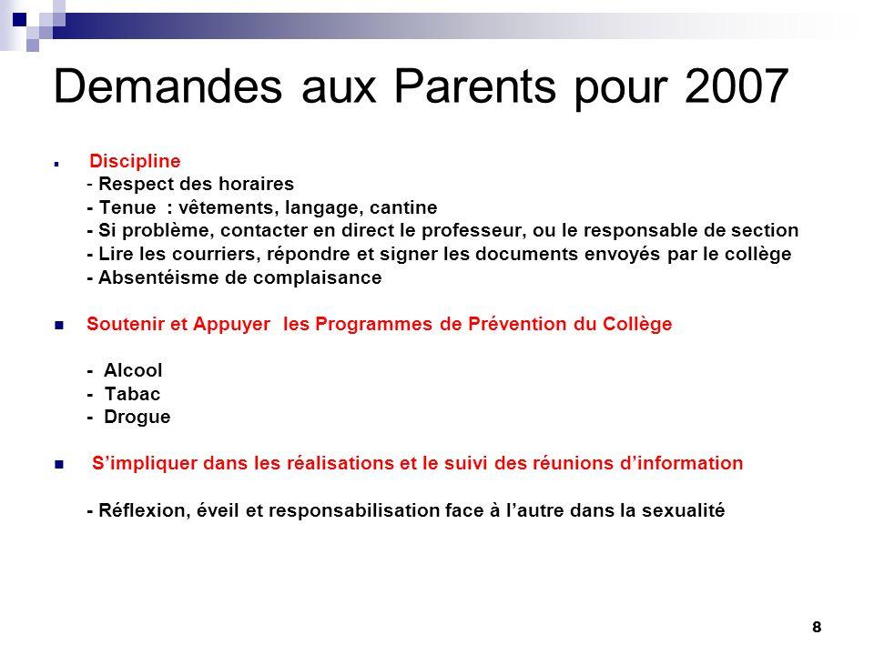 Demandes aux Parents pour 2007