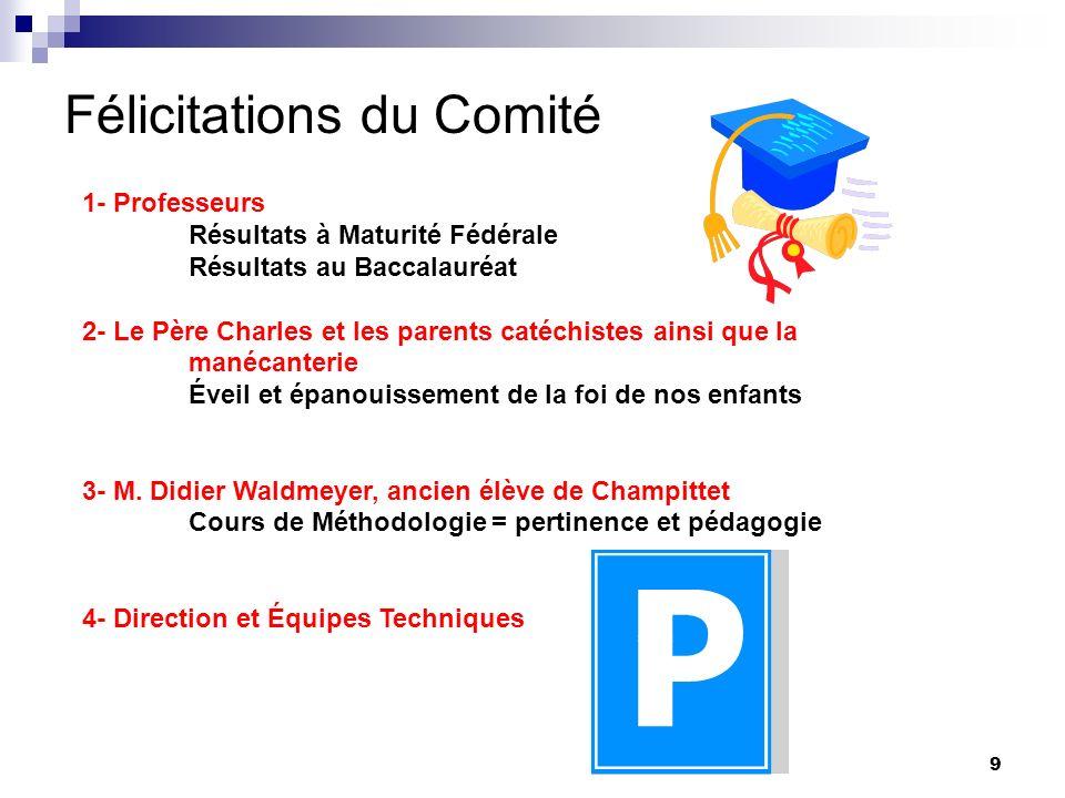 Félicitations du Comité