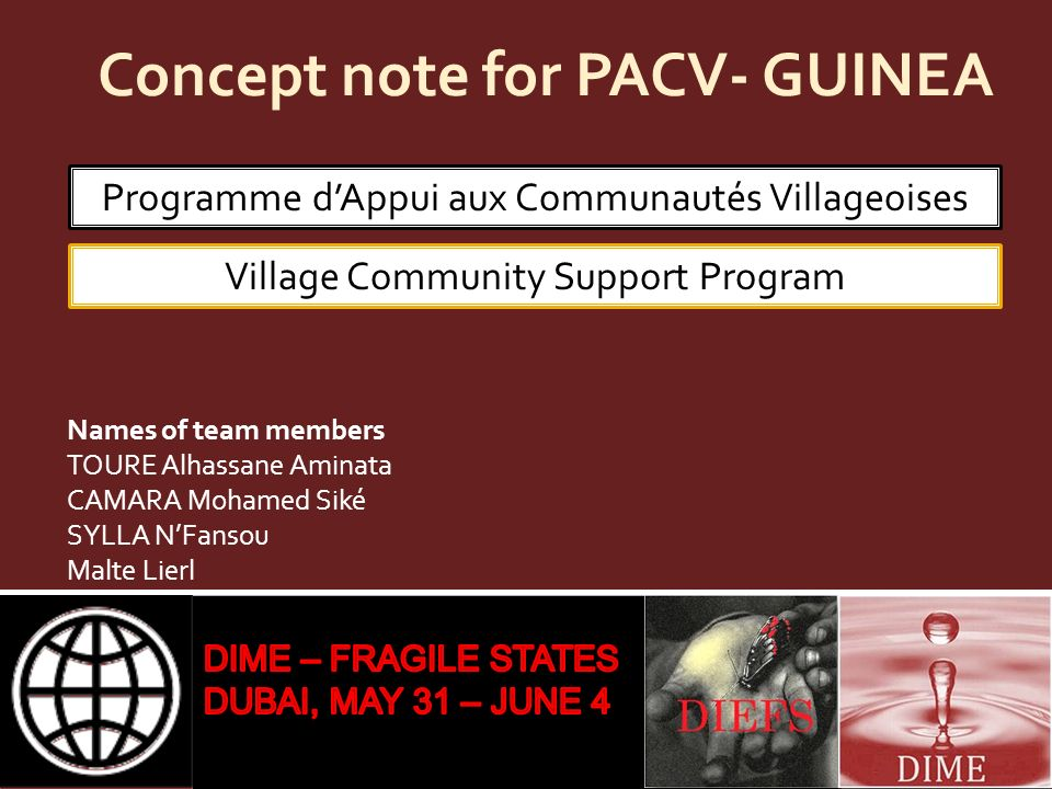 Concept note for PACV- GUINEA