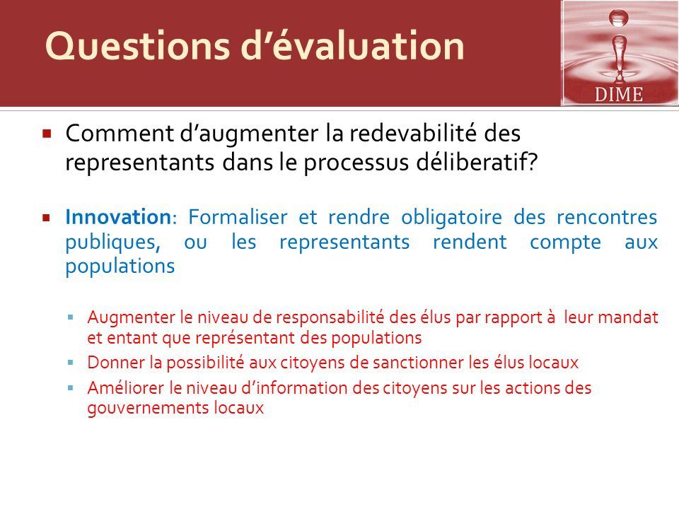 Questions d'évaluation