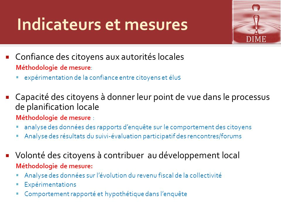 Indicateurs et mesures