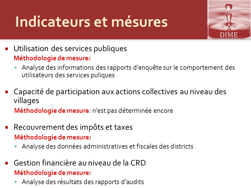 Indicateurs et mésures