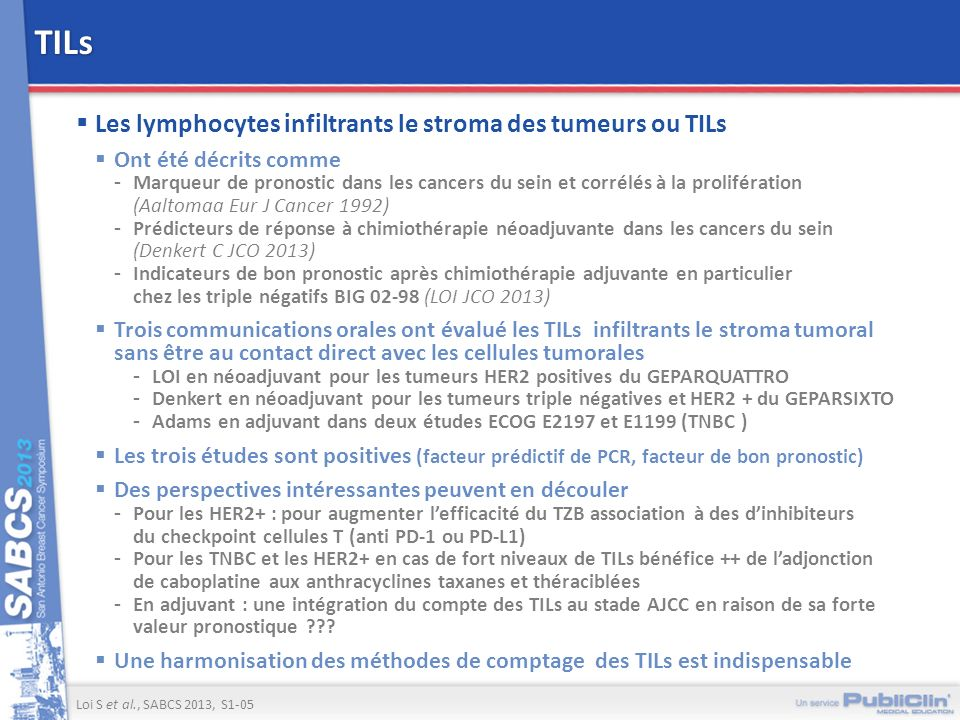 TILs Les lymphocytes infiltrants le stroma des tumeurs ou TILs