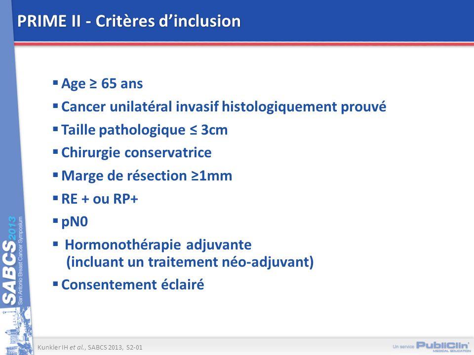 PRIME II - Critères d'inclusion