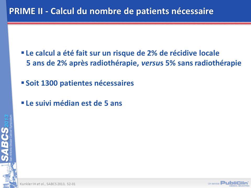 PRIME II - Calcul du nombre de patients nécessaire