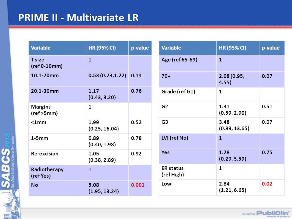 PRIME II - Multivariate LR