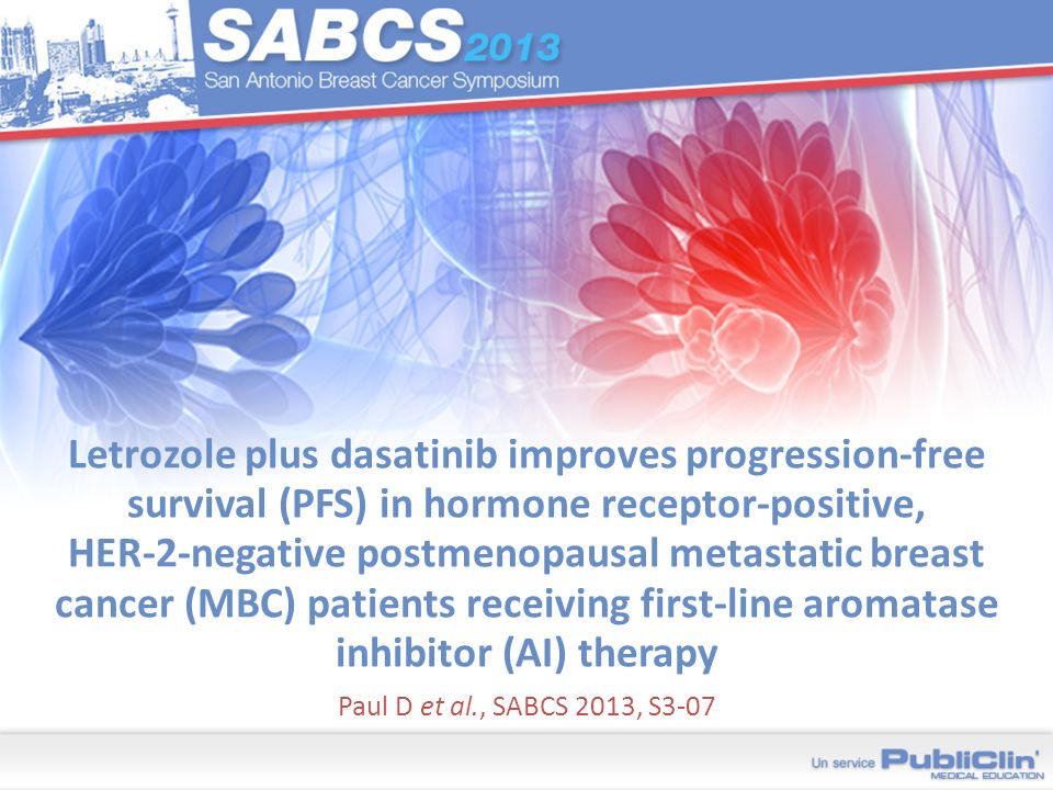 Letrozole plus dasatinib improves progression-free survival (PFS) in hormone receptor-positive, HER-2-negative postmenopausal metastatic breast cancer (MBC) patients receiving first-line aromatase inhibitor (AI) therapy