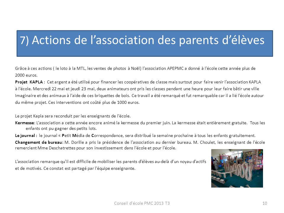 7) Actions de l'association des parents d'élèves