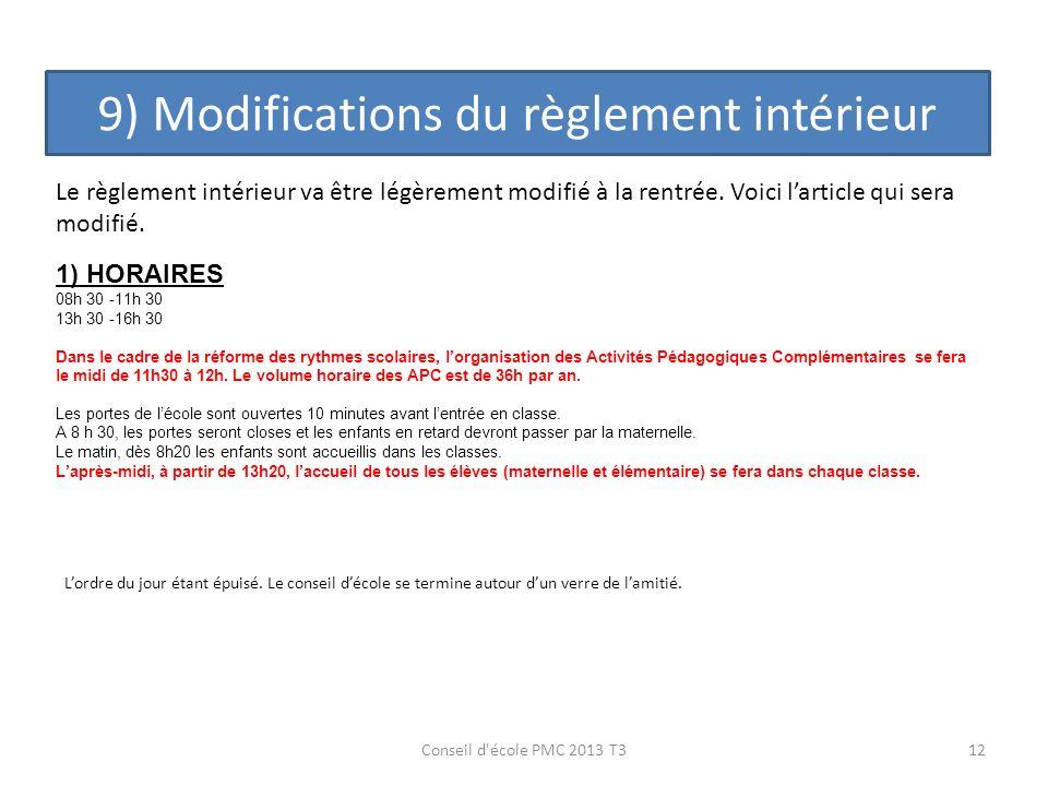 9) Modifications du règlement intérieur