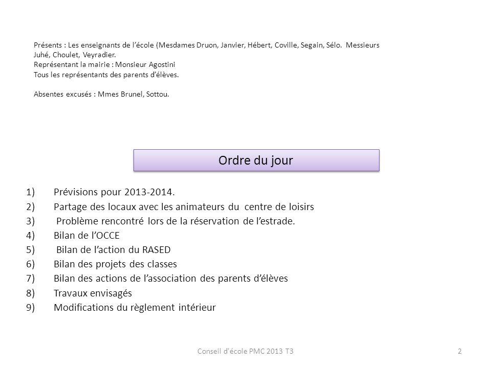 Ordre du jour Prévisions pour 2013-2014.