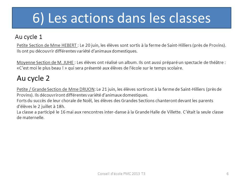 6) Les actions dans les classes