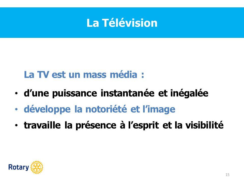 La Télévision La TV est un mass média :