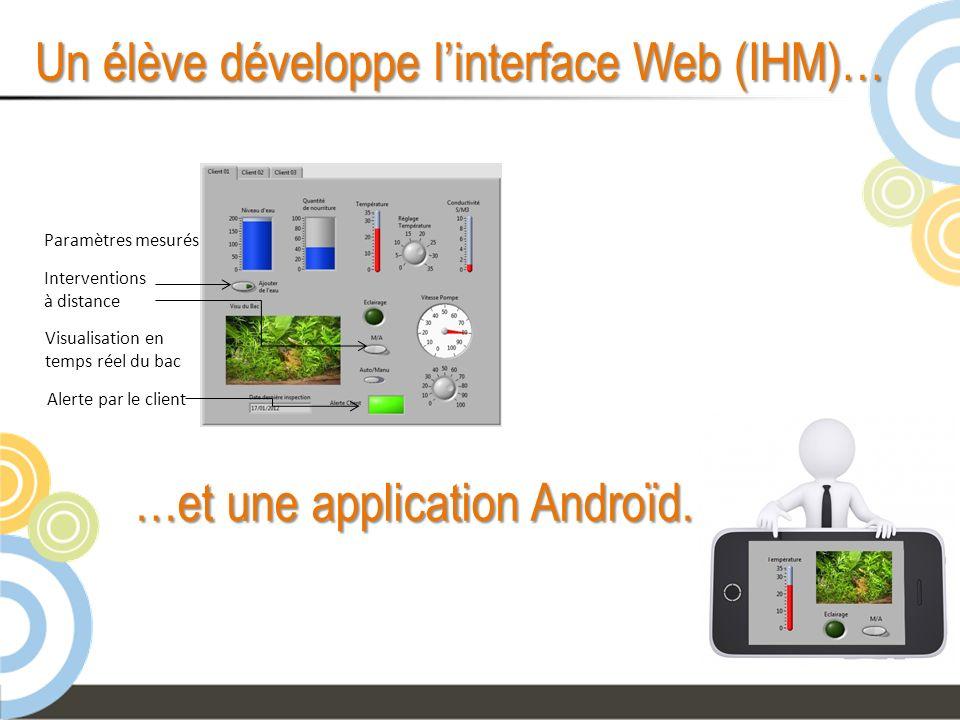 Un élève développe l'interface Web (IHM)…