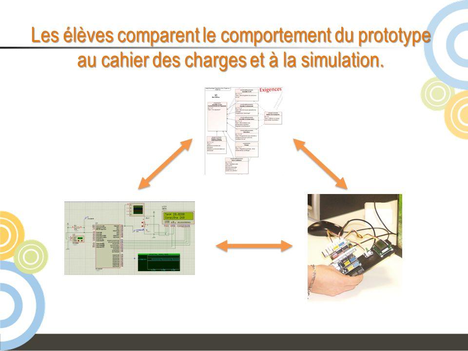 Les élèves comparent le comportement du prototype au cahier des charges et à la simulation.