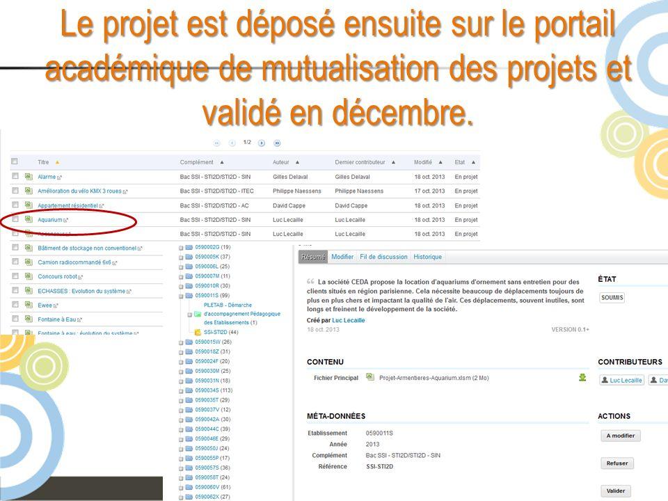 Le projet est déposé ensuite sur le portail académique de mutualisation des projets et validé en décembre.