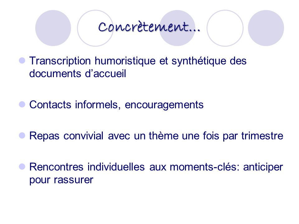 Concrètement… Transcription humoristique et synthétique des documents d'accueil. Contacts informels, encouragements.