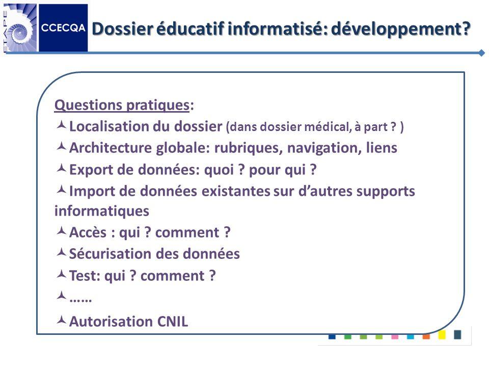 Dossier éducatif informatisé: développement