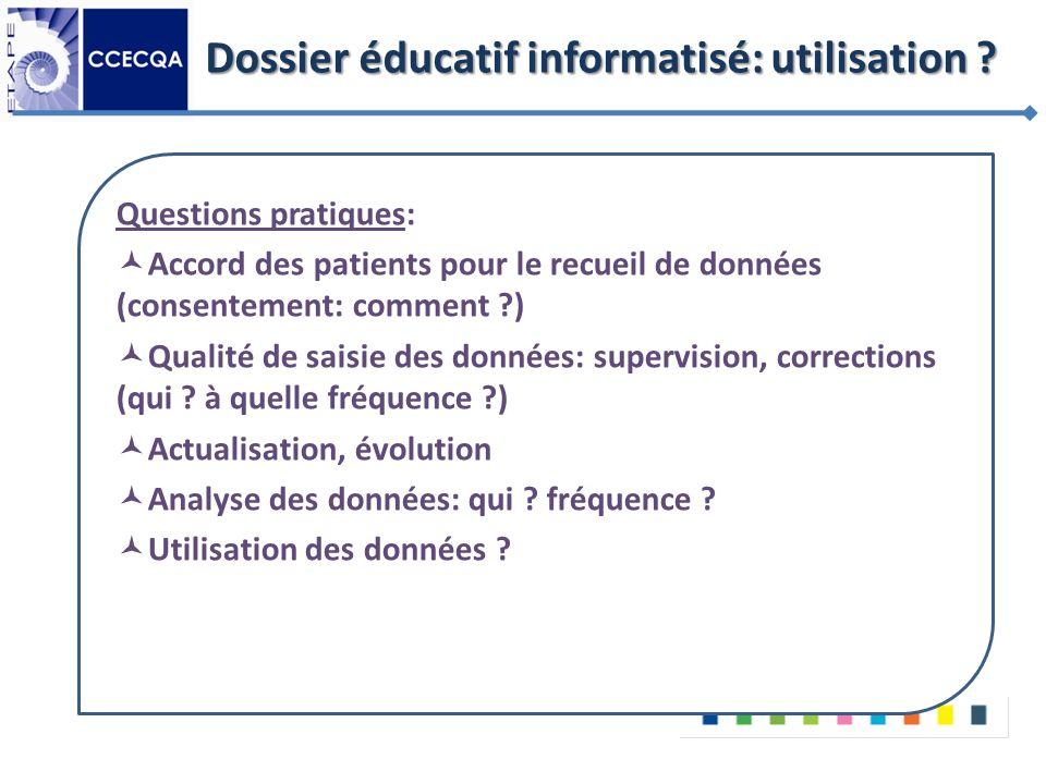 Dossier éducatif informatisé: utilisation