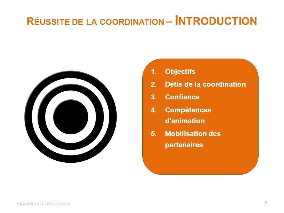 Réussite de la coordination – Introduction